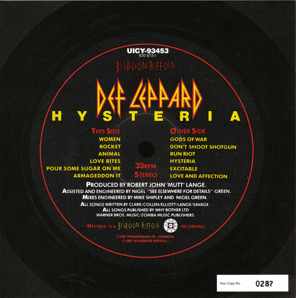 a review of def leppards album hysteria Review of live album by rock band def leppard called viva hysteria recorded in las vegas disc one is basically the live version of 'hysteria', with an encore of 'rock of ages' and 'photograph' 'hysteria' is a classic rock album, even if leppard at their most commercial, and the band have.
